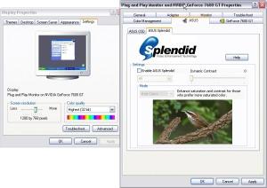 Fitur ASUS Splendid dapat dinonaktifkan melalui Advanced setting pada Display Properties
