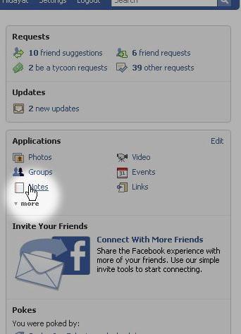 Note adalah aplikasi dalam Facebook.